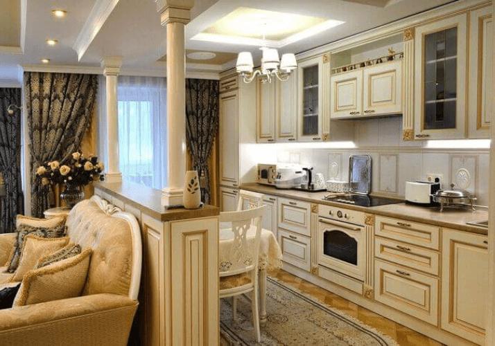белый дизайн кухни в классическом стиле