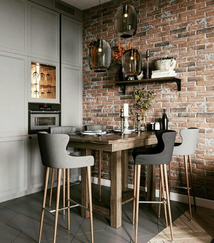 кухни в стиле лофт обеденная зона
