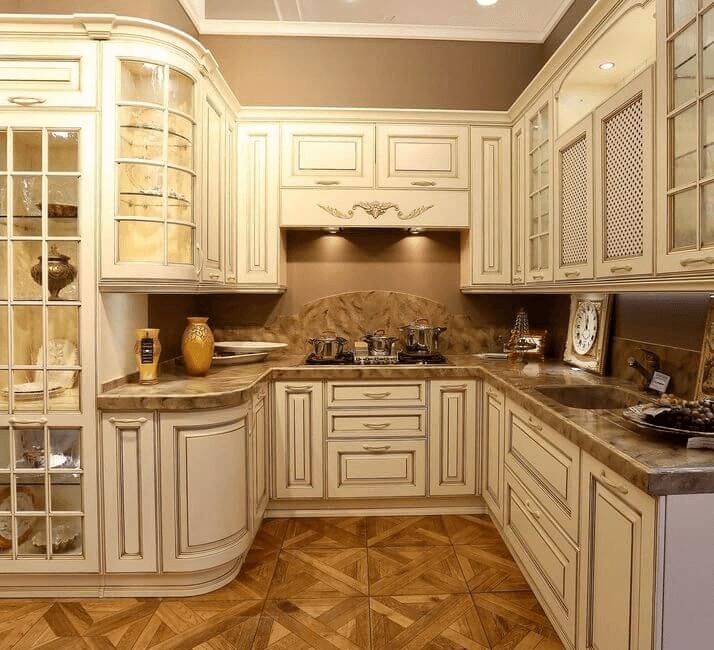 полы в классической дизайне кухни