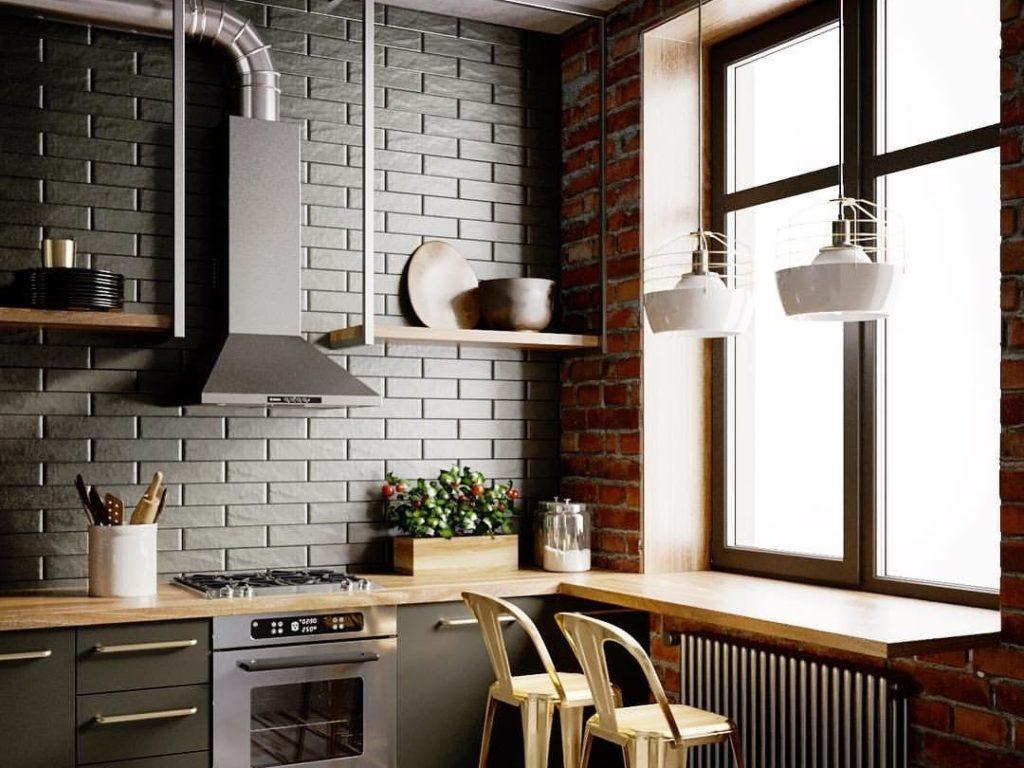 кухни в стиле лофт с мебелью