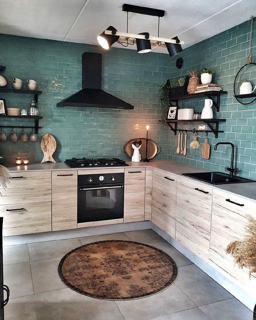 кухня в стиле лофт угловая