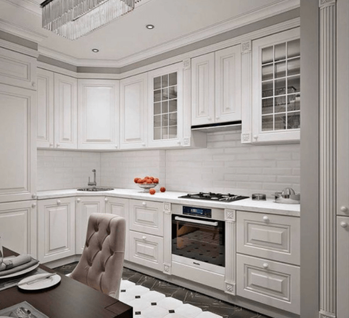 неоклассика белые кухни