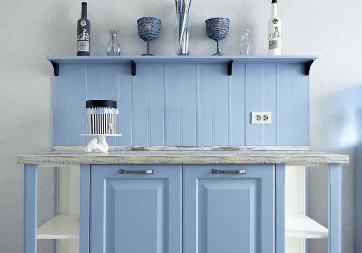 голубые фасады на кухне прованс