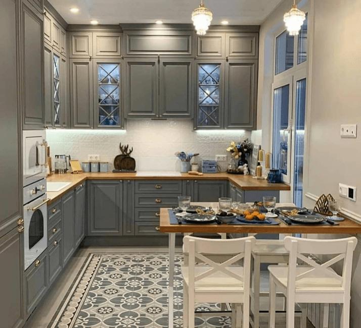 кухни в стиле неоклассика фото серых