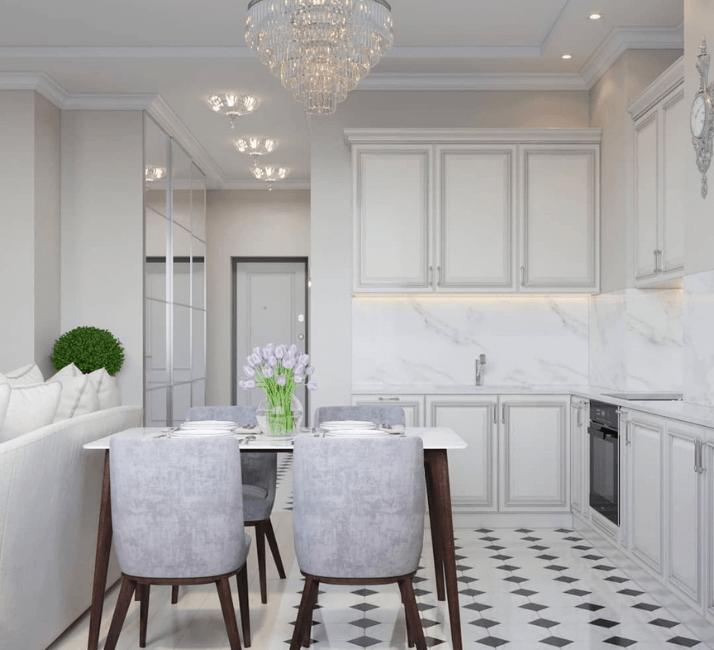 кухни в стиле неоклассика цвет стен