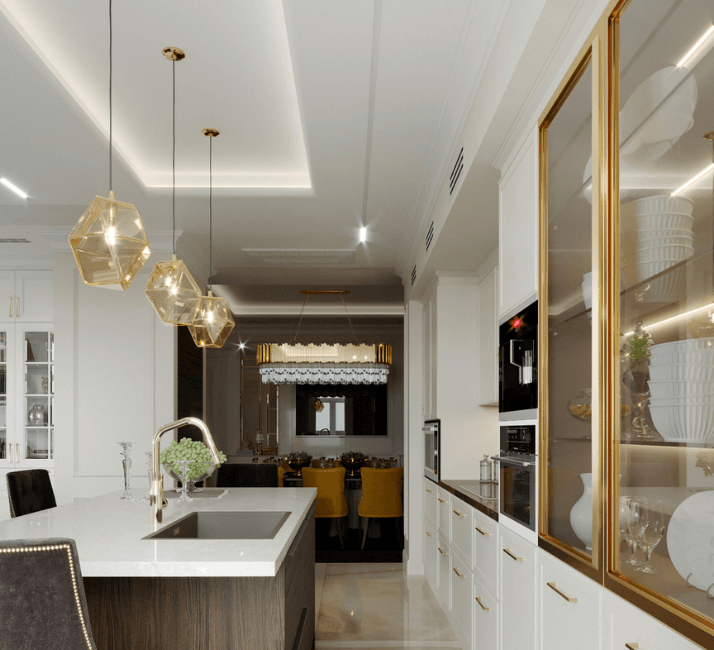 кухни в стиле неоклассика фото люстр