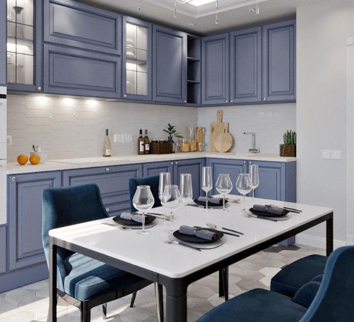 дизайн фото кухни с белым столом