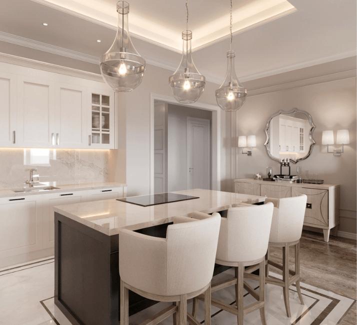 кухни в стиле неоклассика с круглыми светильниками