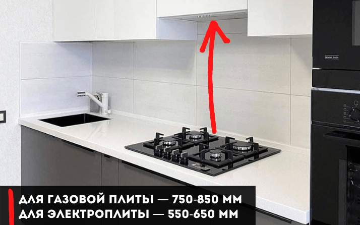 расстояние между плитой и вытяжкой на кухне