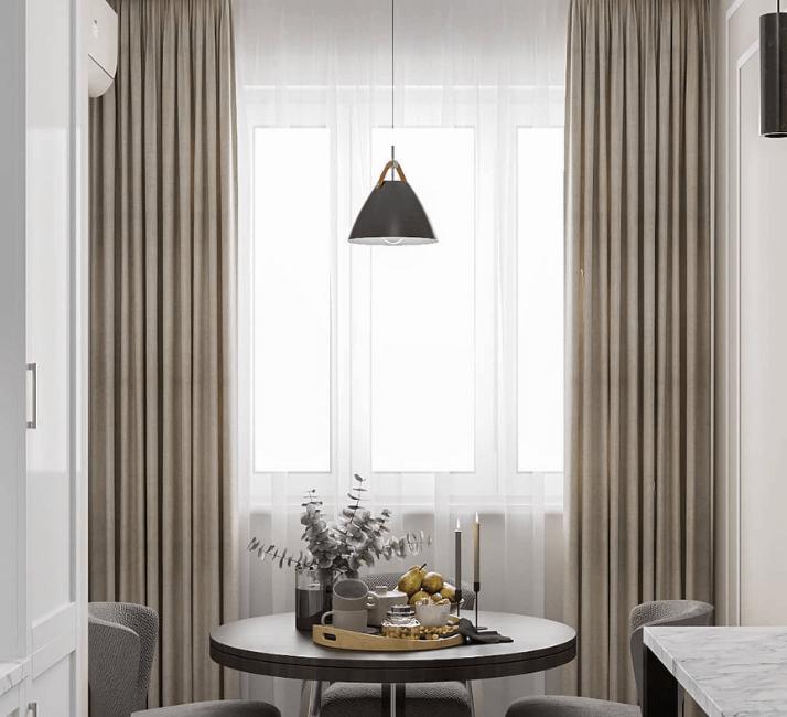 кухни в стиле неоклассика с современной лампой