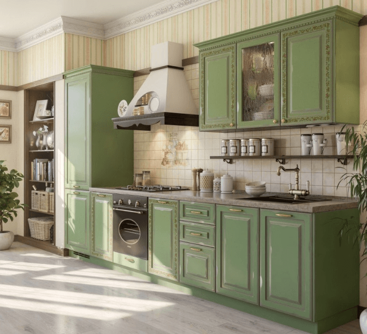 зеленая прованс кухня
