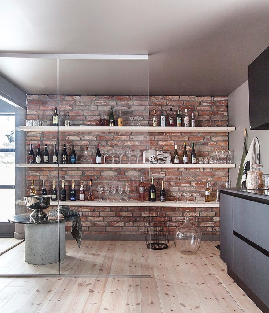 бар в гостиной в стиле лофт