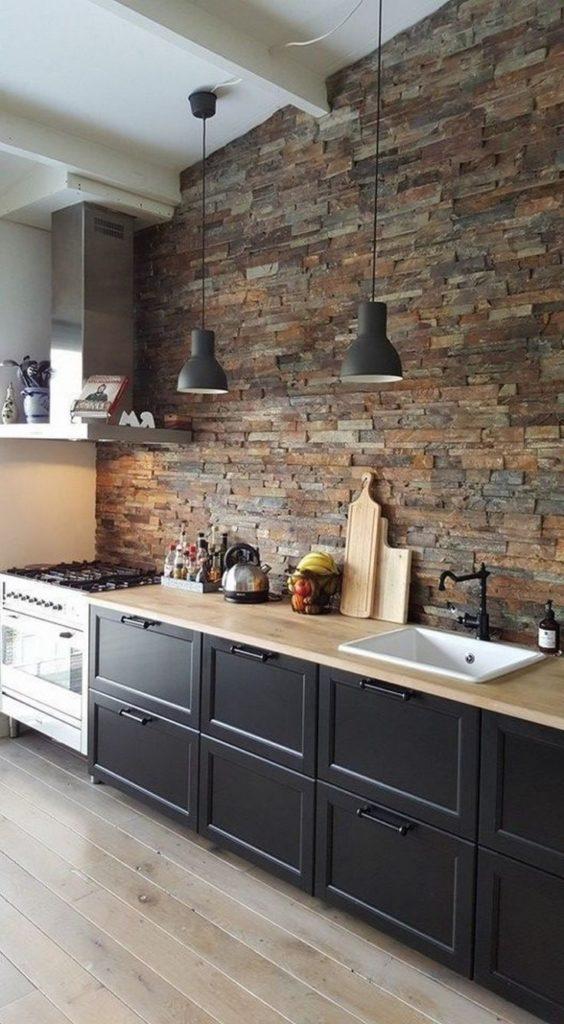 стены лофт на кухне