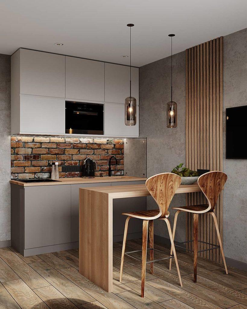 кухня в стиле лофт с обеденным столом