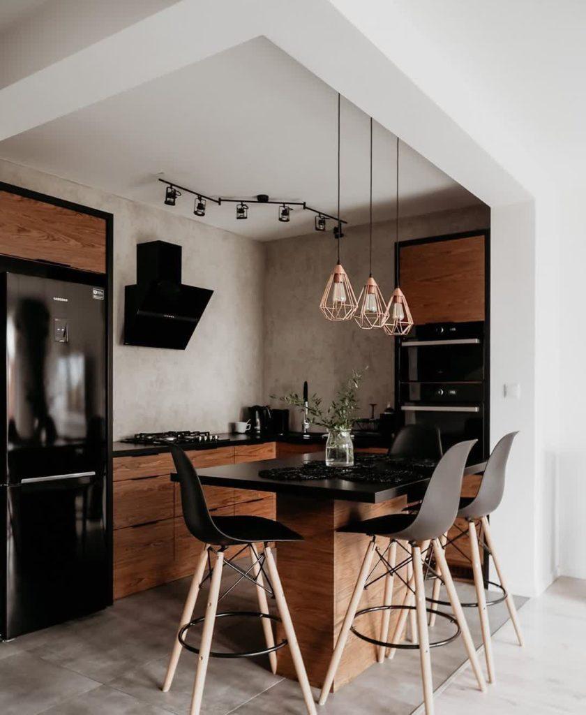 дизайн кухня в стиле лофт для дома