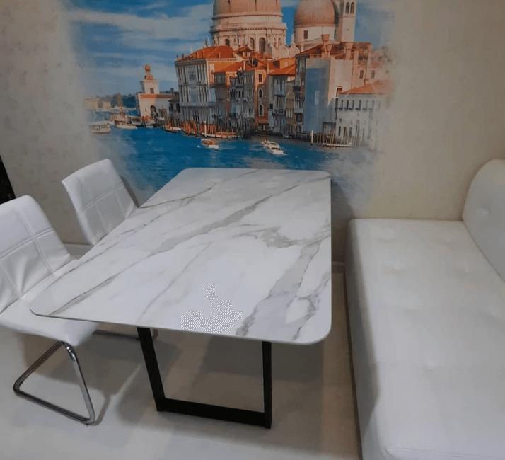 белый стол под камень современный