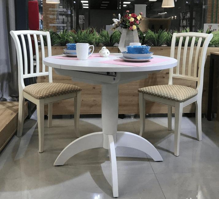 белый круглый стол для кухни