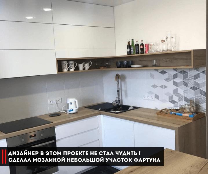 крутая белая кухня с фартуком