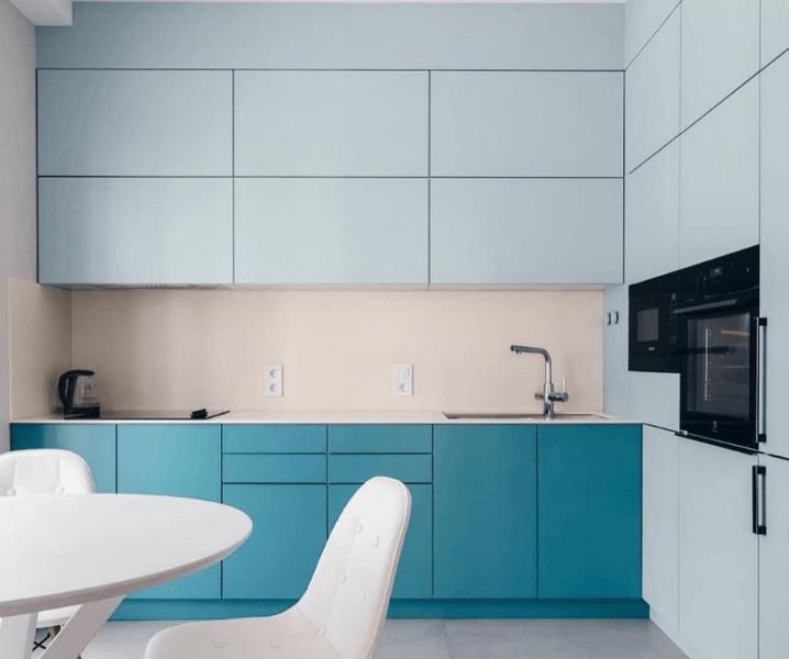 Кухни синего цвета в современном стиле сине-голубая