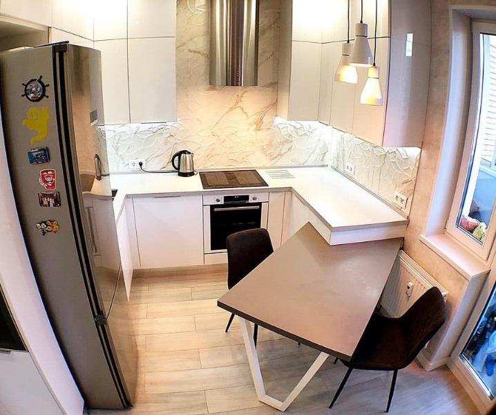 Дизайн современной кухни с барной стойкой угловая кухня