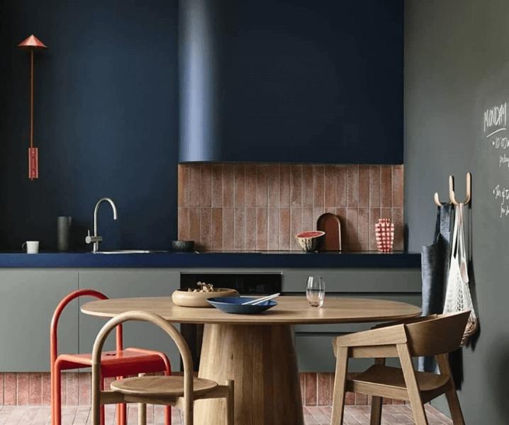 современная кухня синяя