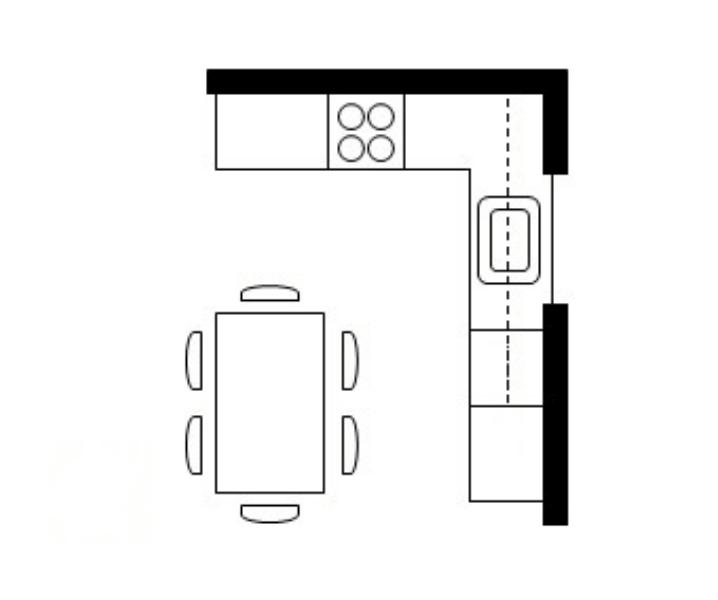 г образная планировка кухни с обеденной зоной