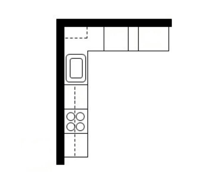 г образная планировка кухни встроенная техника