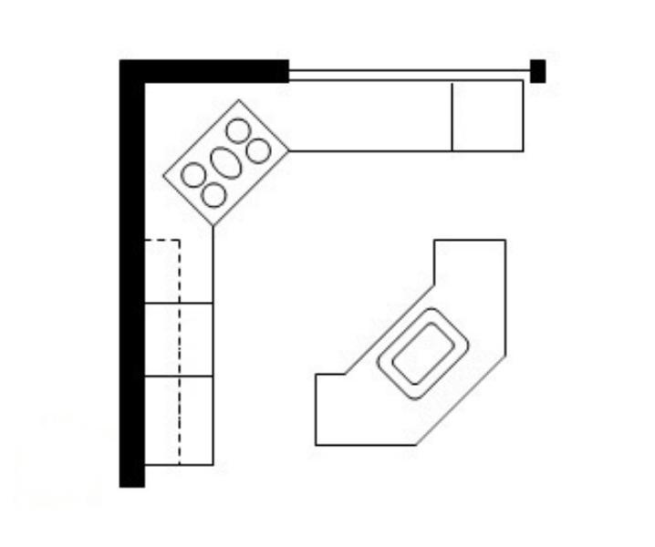 двойная планировка кухни с островом