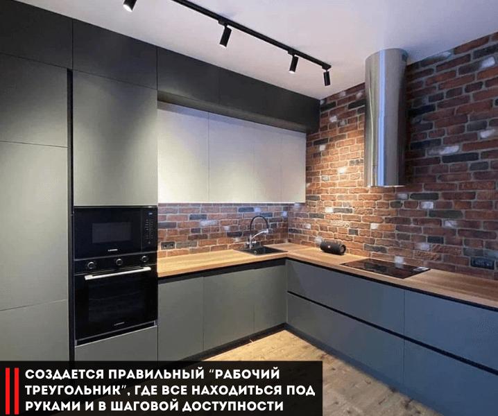 Дизайн угловой кухни в современном стиле темная