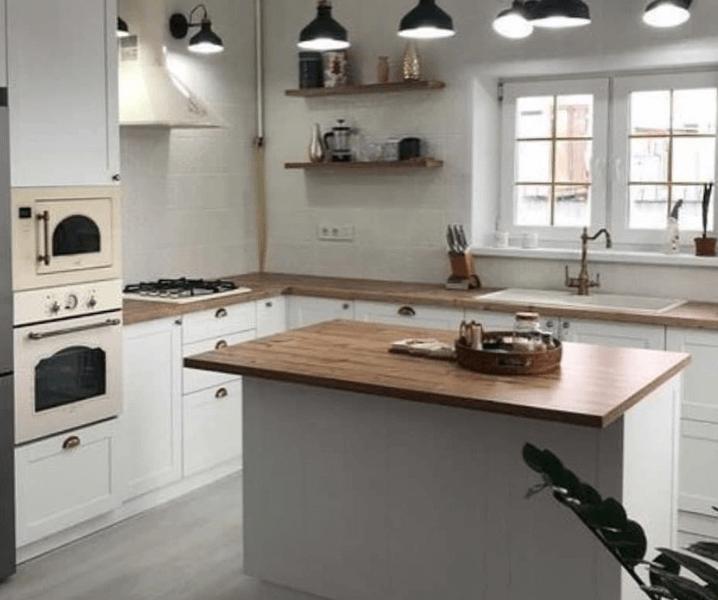 скандинавская угловая современная кухня с островом