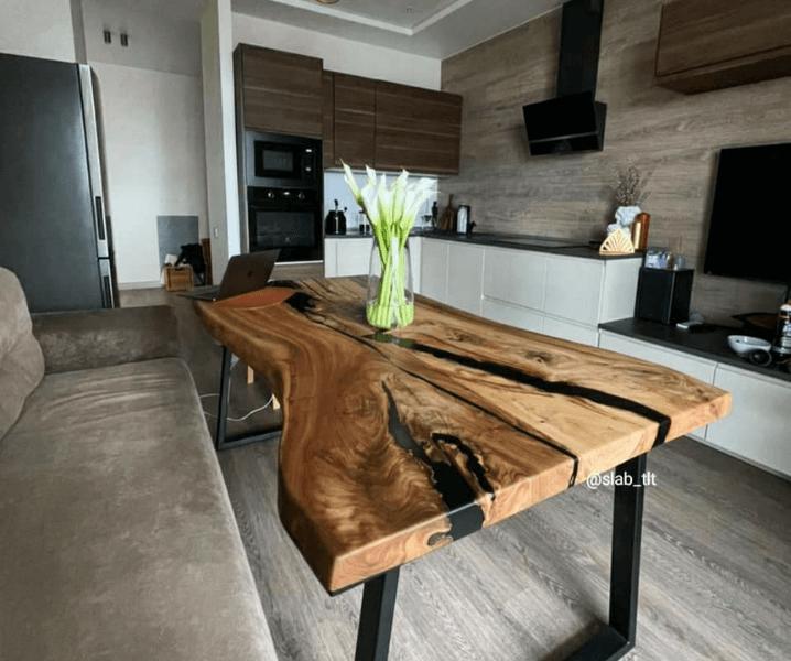 эко-стиль кухня современная угловая с деревянным столом