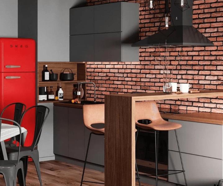 кухня лофт с красным холодильником и кирпичикком