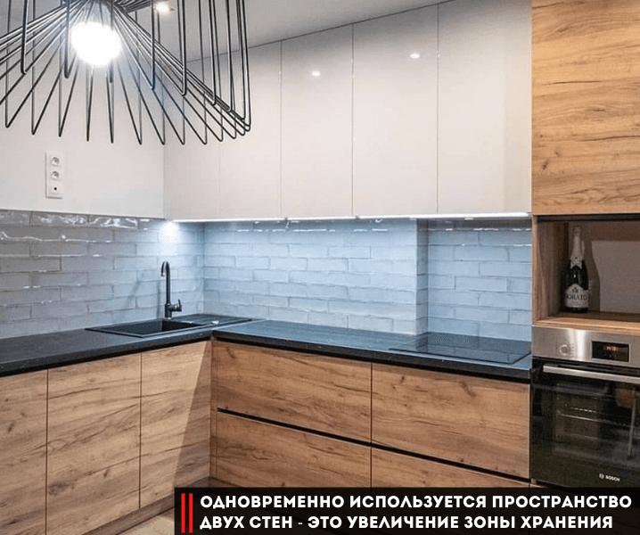 Дизайн угловой кухни в современном стиле бело-деревянная