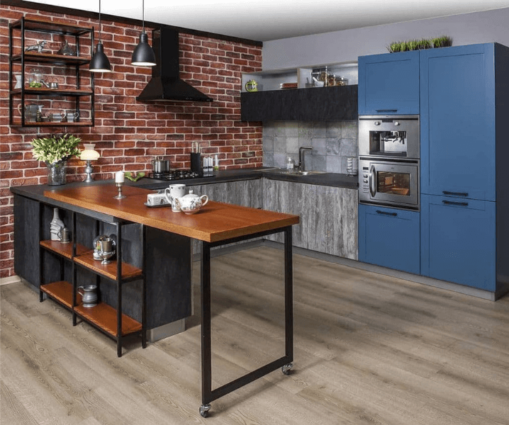 эко-стиль кухня современная угловая голубая
