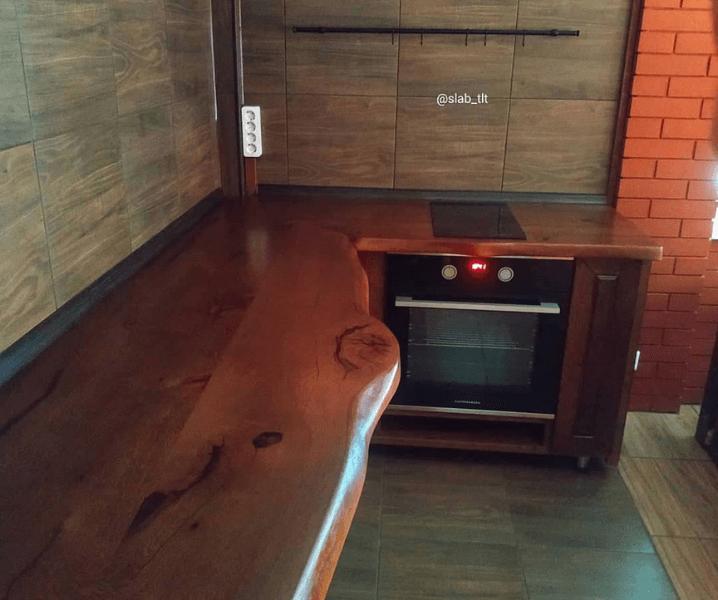 эко-стиль кухня современная угловая с деревянной столешницей