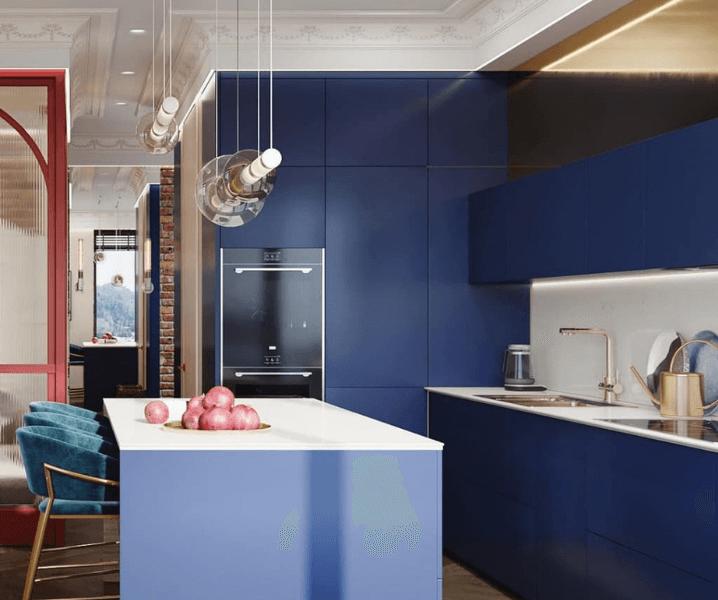 кухня эклектика угловая современная  темно-синяя