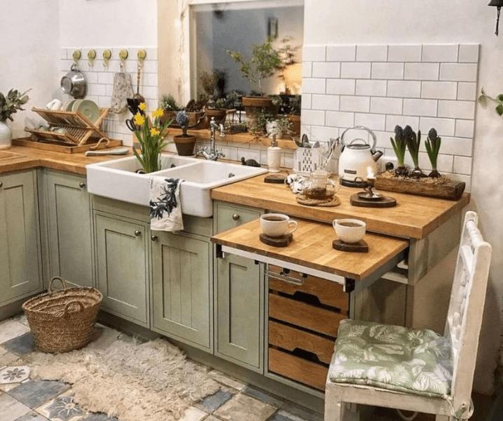 скандинавская угловая современная кухня винтажная
