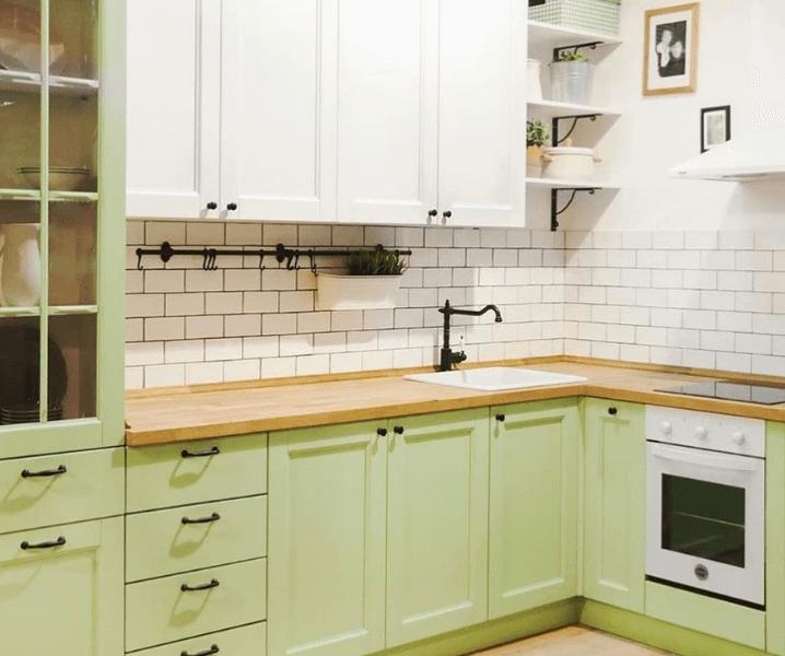 скандинавская угловая современная кухня фисташковая