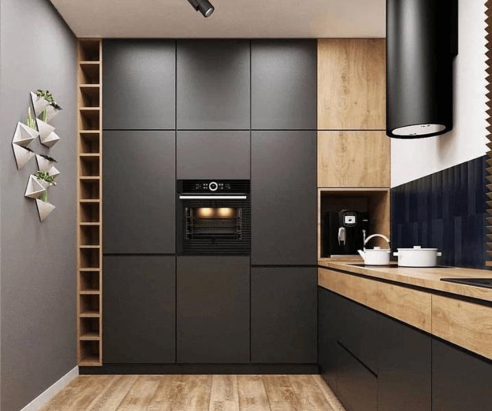 Дизайн угловой кухни в современном стиле минимализм черная с деревом