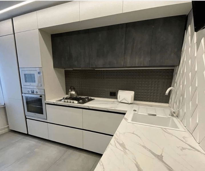 Дизайн угловой кухни в современном стиле минимализм столешница