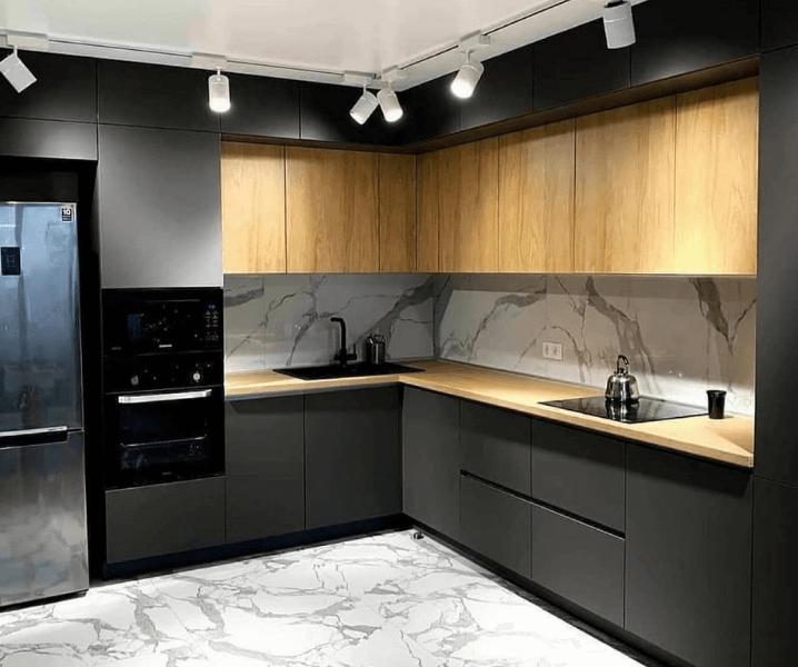 Дизайн угловой кухни в современном стиле черная