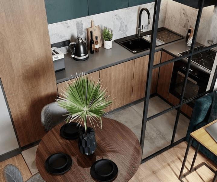 Дизайн угловой кухни в современном стиле маленькая с деревом
