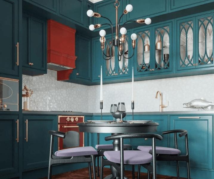 кухня эклектика угловая современная синяя