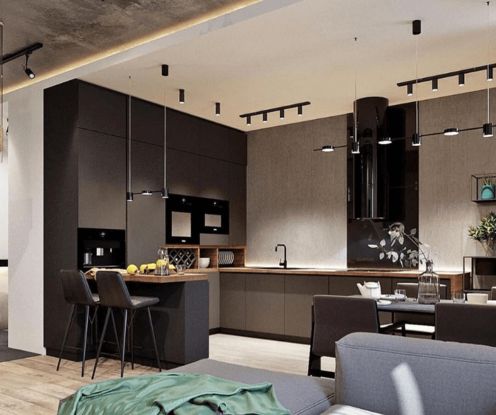 кухня лофт с темными фасадами