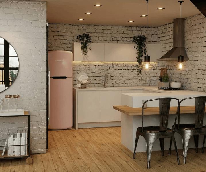 г-образная кухня лофт с барной стойкой