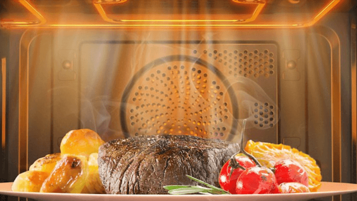 гриль с конвекцией и мясом