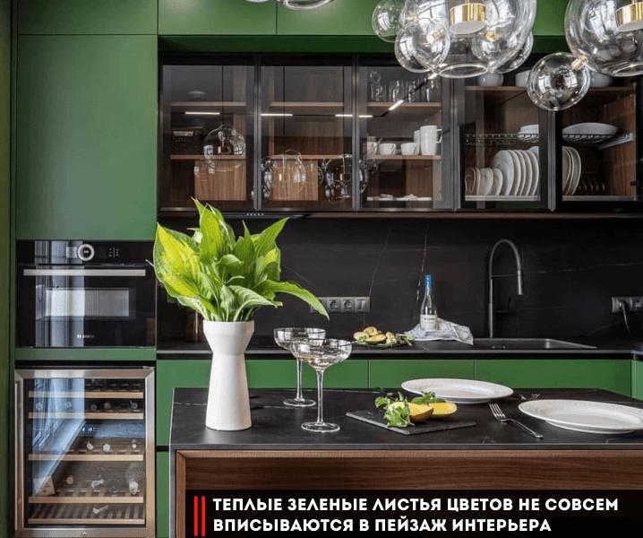Современные кухни в зеленом стиле с цветами