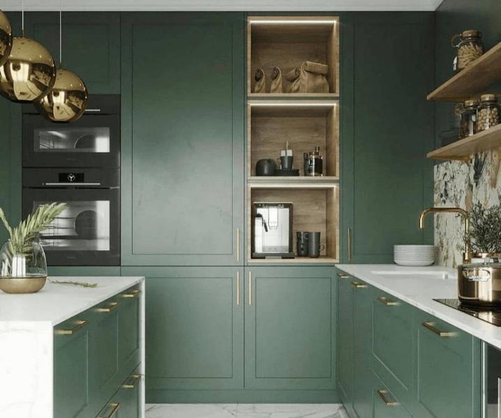 п-образная зеленая кухня