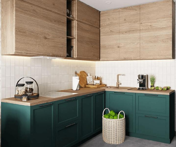 кухня темно-зеленая с деревом