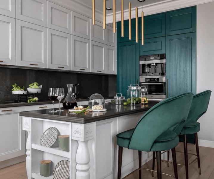 классическая современная зеленая кухня